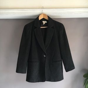 Charcoal colored oversize wool blend blazer